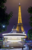 The Eiffel Tower and Carousel in Paris Royalty Free Stock Images