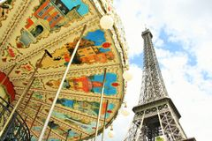 Eiffel Tower and a carousel, Paris Stock Images