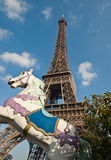 The Eiffel Tower and carrousel horse. Royalty Free Stock Image