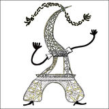 The Eiffel Tower in cartoon style. illustration Royalty Free Stock Image