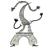 The Eiffel Tower in cartoon style.vector illustration Royalty Free Stock Image