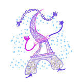 The Eiffel Tower in cartoon style vector illustration Royalty Free Stock Photography