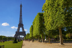 Eiffel Tower center tourist route in Paris Royalty Free Stock Image