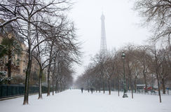 Eiffel tower and Champ de Mars covered with sno Stock Images