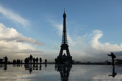 Eiffel Tower on the Champ de Mars in Paris, France. Stock Photo