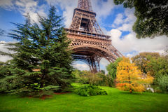 Eiffel Tower from Champ de Mars park in Paris, France Royalty Free Stock Image