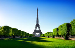 Eiffel Tower and Champ de Mars Royalty Free Stock Photos