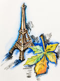 Eiffel Tower with chestnut leaf Stock Image