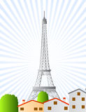 Eiffel tower city view clip art. Illustrated eiffel tower in paris with urban view of houses and trees and cool background Royalty Free Stock Photo