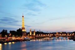 Eiffel Tower Cityscape at Dusk, Paris Stock Photo