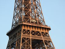 Eiffel tower close view of the structure in Paris, France royalty free stock images