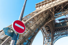 Eiffel tower closed no entry sign Royalty Free Stock Images