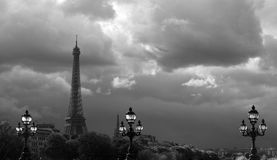 Eiffel Tower in the cloud. In Paris Stock Photos