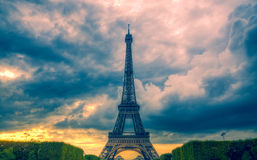 Eiffel tower and clouds Stock Photos