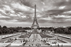 Eiffel tower cloudy cityscape view Stock Photo