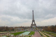 Eiffel Tower in a cloudy day Royalty Free Stock Photo