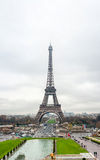 Eiffel Tower on a cloudy day Stock Photo