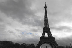 The Eiffel Tower in a Cloudy Day. One Winter Day before New Year Eve we were taking a walk around Paris Stock Photo