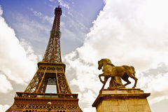 Eiffel tower in cloudy sky Stock Image