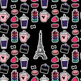 Eiffel Tower with coffee and macaroons. Paris style. Surface design. Vector sketch illustration stickers on black background. Seamless pattern Paris. Eiffel stock illustration