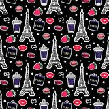 Eiffel Tower with coffe and macaroons. Paris style. Surface design. Vector sketch illustration stickers on black royalty free stock image
