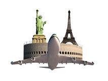 Eiffel tower Coliseum Statue of Liberty airplane Royalty Free Stock Images