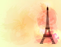 Eiffel tower on colorful background. Symbol of love and romance. Paris sight. Vector illustration Royalty Free Stock Images