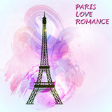 Eiffel tower on colorful background. Symbol of love and romance. Paris sight. Vector illustration Stock Image