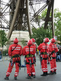 Eiffel Tower crew. Five members of the Eiffel Tower maintenance crewing looking up royalty free stock image