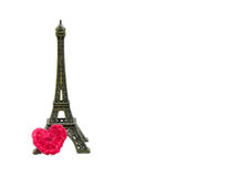 Eiffel tower with crochet heart isolated Royalty Free Stock Photography