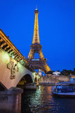 Eiffel Tower and d'Iena Bridge at Dawn, Paris, France Royalty Free Stock Photos