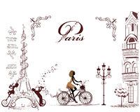 Eiffel Tower decorated with musical stave, notes, musicians. Girl riding on the bicycle stock illustration