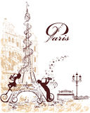 Eiffel Tower decorated with musical stave, notes, musicians Royalty Free Stock Images