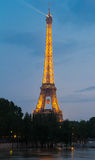 The Eiffel tower decorated with soccer baloon for Europe champio. Paris; France-June 05, 2016 : The Eiffel tower at night decorated with soccer baloon for Europe Royalty Free Stock Images