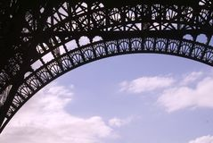 Eiffel Tower, detail. A partial view of the eifel tower against the sky royalty free stock image