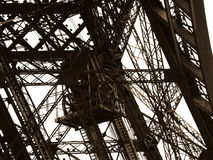 Eiffel Tower detail the old lift. Stock Photography