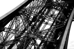 Eiffel Tower detail in Paris black and white photo. In France Royalty Free Stock Images