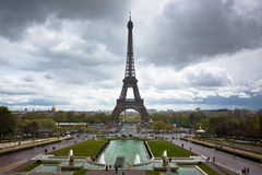 Eiffel tower with dramatic sky, France Stock Photos