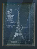 Eiffel tower Drawing. Eiffel Tower. Old Architectural Blueprint Drawing In Frame Stock Photos