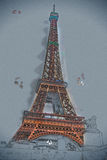Eiffel tower at dusk royalty free stock photos