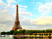 Eiffel Tower At Dusk Seine River Royalty Free Stock Photography