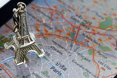 Eiffel tower on a Electronic Map of Paris. Eiffel Tower keychain on a Electronic Map of Paris Royalty Free Stock Photo