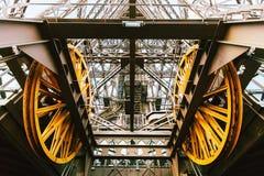 Eiffel tower elevator mechanism, Paris, France Royalty Free Stock Image