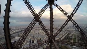 Eiffel Tower elevator. Paris monument Eiffel Tower elevator stock video