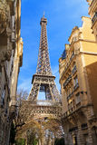 Eiffel tower at the end of a street Stock Photography