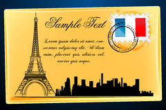 Eiffel tower on envelope Stock Photography