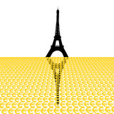 Eiffel tower with euros Royalty Free Stock Photos