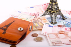 Eiffel tower with Euros banknotes Royalty Free Stock Images
