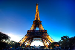 Eiffel Tower in the evening. A late afternoon shot of the Eiffel Tower in Paris, France Royalty Free Stock Photos