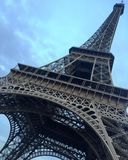 Eiffel Tower in the evening sky stock photography